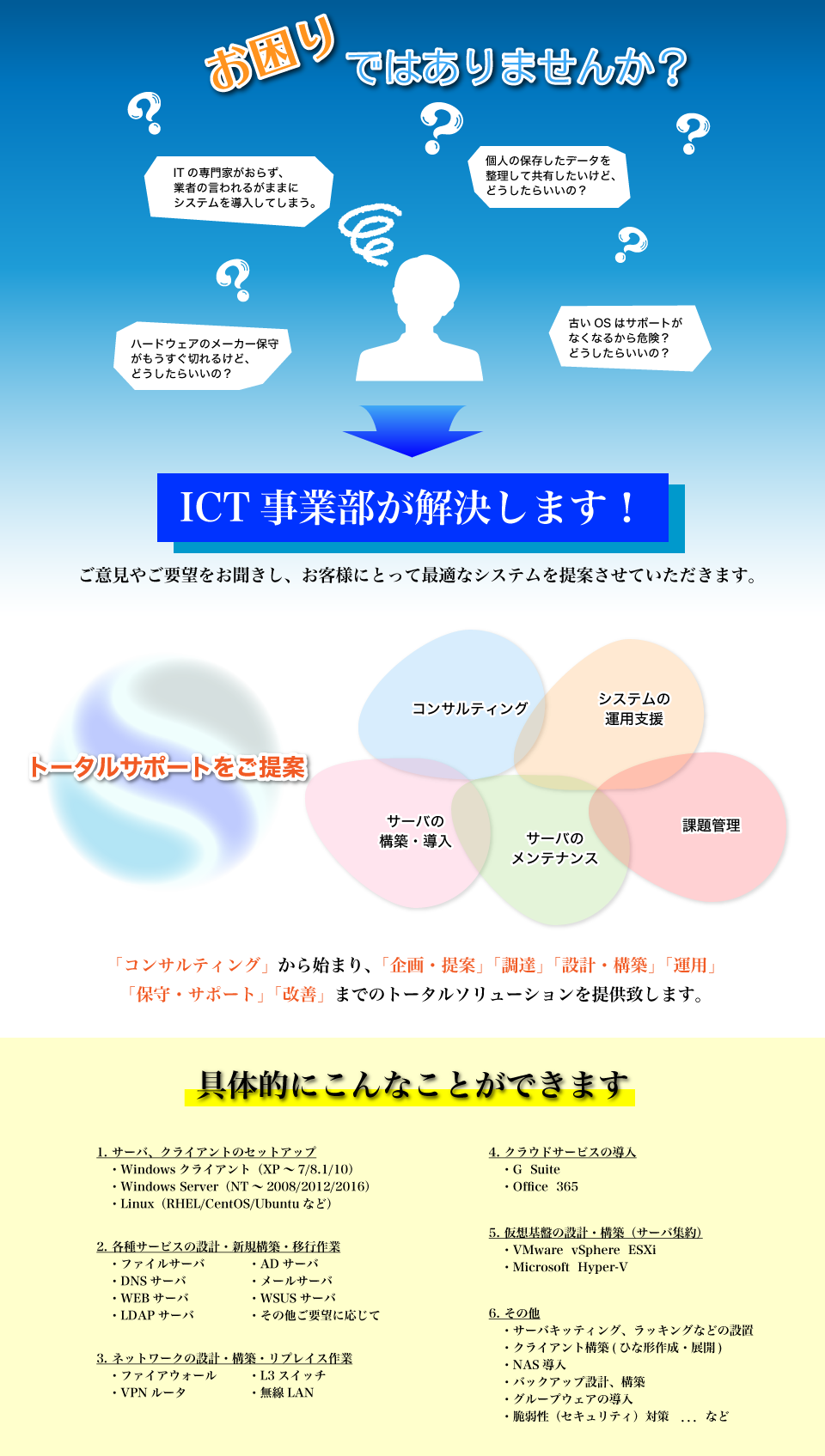 お困りごとはございませんか? ICT事業部が解決します。